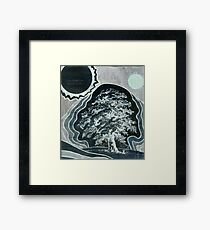 A Tree Growing Into Space at Night Framed Print