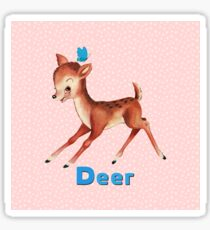 Cute fawn and butterfly amongst flowers Sticker