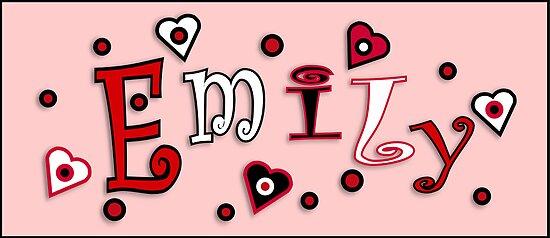 Hearts And Dots Name Art - Emily by cheerishables