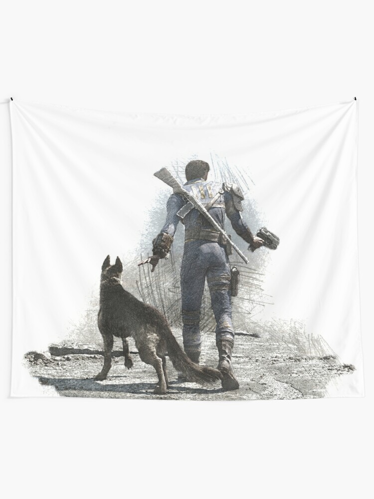 Fallout 4 Vault Dweller and Dogmeat Drawing | Wall Tapestry