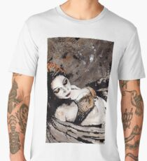 Paper Wings Turned Into Girl (sexy angel girl portrait, redhead in lingerie) Men's Premium T-Shirt