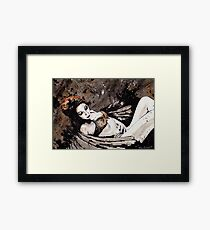 Paper Wings Turned Into Girl (sexy angel girl portrait, redhead in lingerie) Framed Print