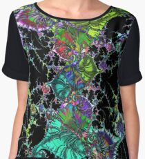 Psychedelic Abstract Spirals Mandelbrot Fractal colored Women's Chiffon Top