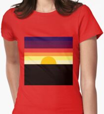 geo colorblock sunset Womens Fitted T-Shirt