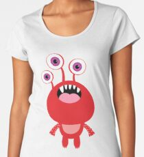 Red funny and silly cartoon monster Women's Premium T-Shirt