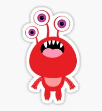 Red funny and silly cartoon monster Sticker