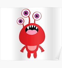 Red funny and silly cartoon monster Poster
