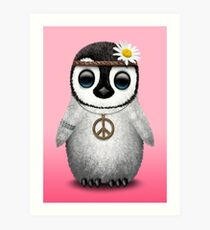 Cute Baby Penguin Hippie Art Print