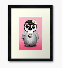 Cute Baby Penguin Hippie Framed Print