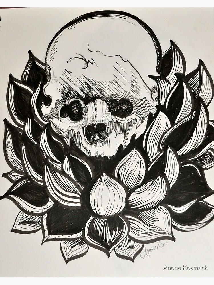 Poster Rebel Mandala Skull Lotus Par Artfueledlivin Redbubble