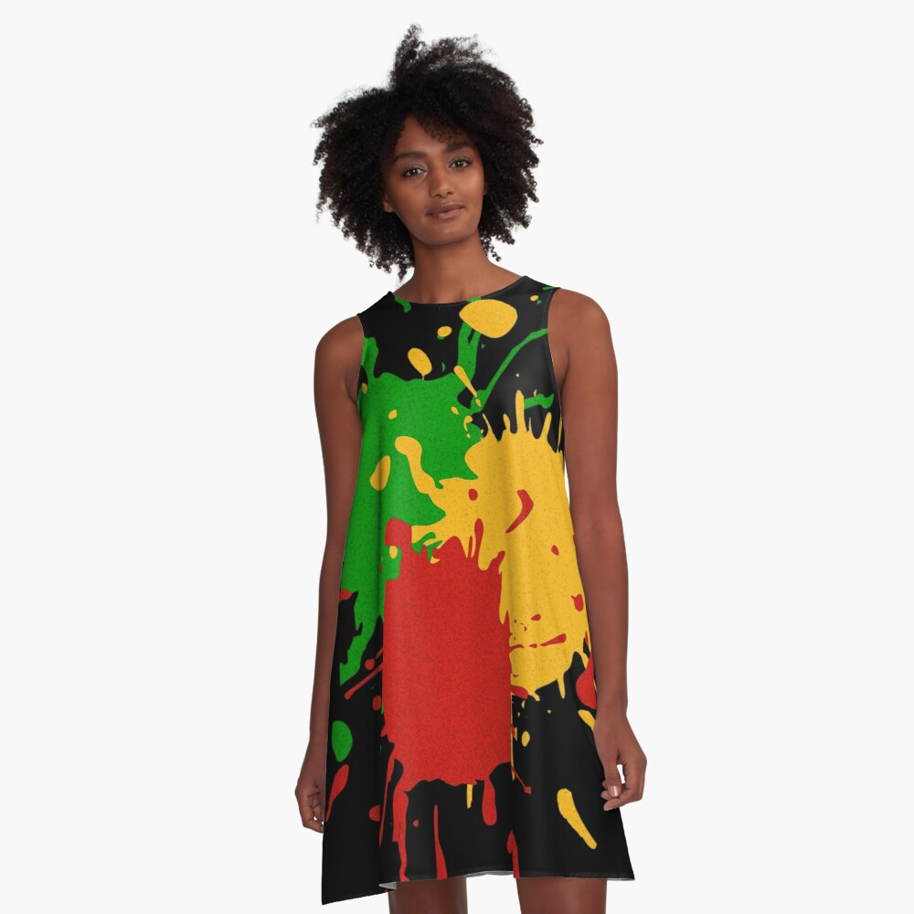 Rastafari Colors - Splashes Green Yellow Red A-Line Dress Front