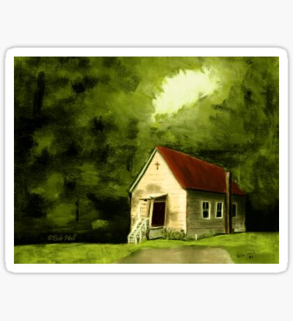 COUNTRY CHURCH, Pastel Painting, for prints and products Sticker