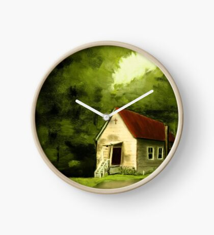 COUNTRY CHURCH, Pastel Painting, for prints and products Clock