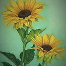 Two Sunflowers by Pam Humbargar