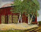 OLD MAN WALKER'S BARN, Acrylic Painting, for prints and products by Bob Hall©