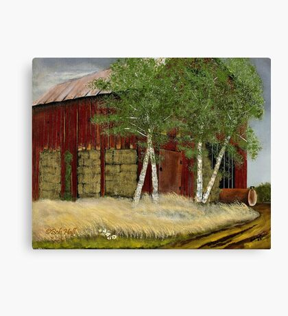 OLD MAN WALKER'S BARN, Acrylic Painting, for prints and products Canvas Print