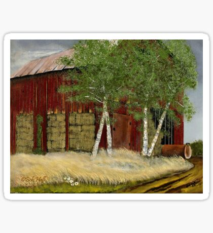 OLD MAN WALKER'S BARN, Acrylic Painting, for prints and products Sticker