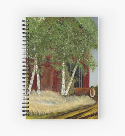 OLD MAN WALKER'S BARN, Acrylic Painting, for prints and products Spiral Notebook