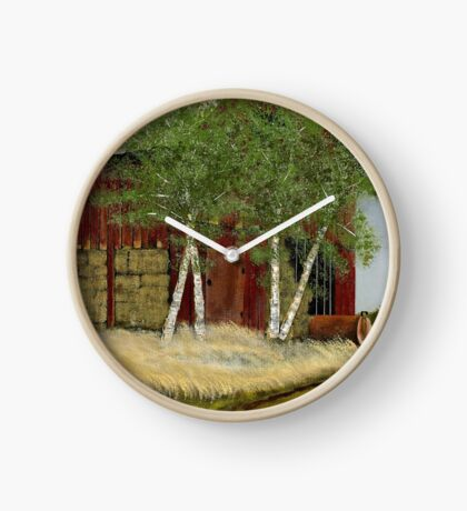 OLD MAN WALKER'S BARN, Acrylic Painting, for prints and products Clock