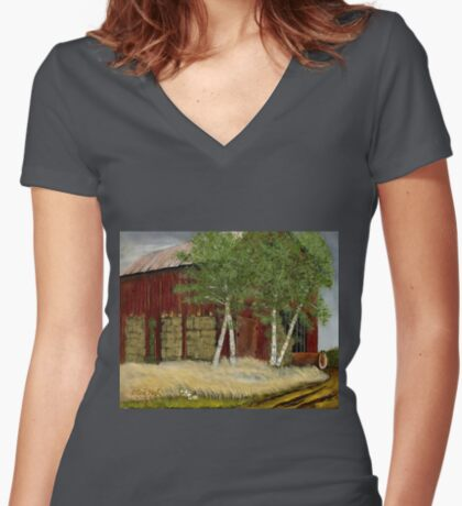 OLD MAN WALKER'S BARN, Acrylic Painting, for prints and products Women's Fitted V-Neck T-Shirt