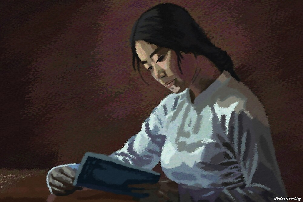 Asian woman reader by komaro