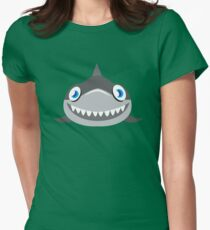 cute happy shark face Womens Fitted T-Shirt