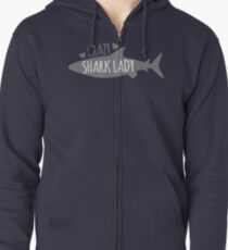 CRAZY Shark lady  Zipped Hoodie