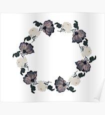 Night garden roses - flower crown Poster