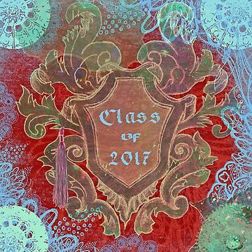 Vintage Leaves Around Shield, Graduation Tassel, 2017. Red Blue by toots