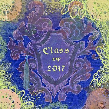 Vintage Leaves Around Shield, Graduation Tassel, 2017. Purple Blue by toots
