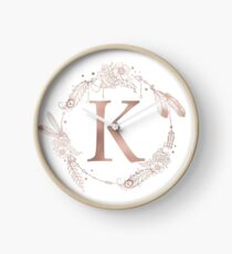 Letter K Rose Gold Pink Initial Monogram Clock