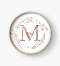 Letter M Rose Gold Pink Initial Monogram Clock