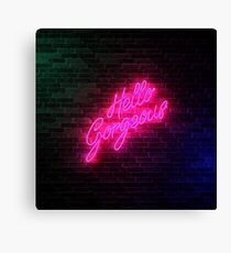 Hello Gorgeous - Neon Sign Light - Popular trending Canvas Print