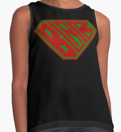Black SuperEmpowered (Red and Green) Contrast Tank