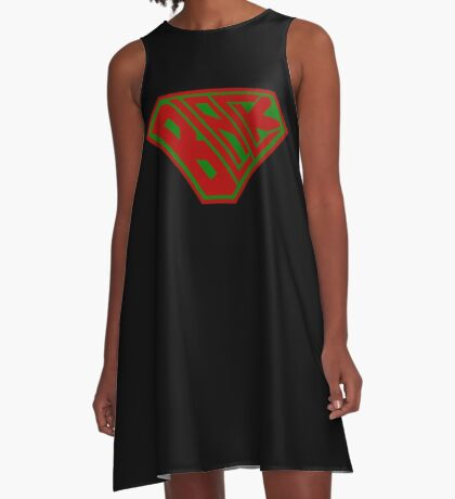 Black SuperEmpowered (Red and Green) A-Line Dress