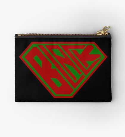 Black SuperEmpowered (Red and Green) Zipper Pouch