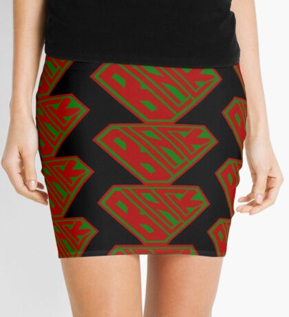 Black SuperEmpowered (Red and Green) Mini Skirt