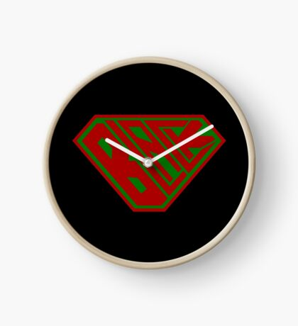 Black SuperEmpowered (Red and Green) Clock