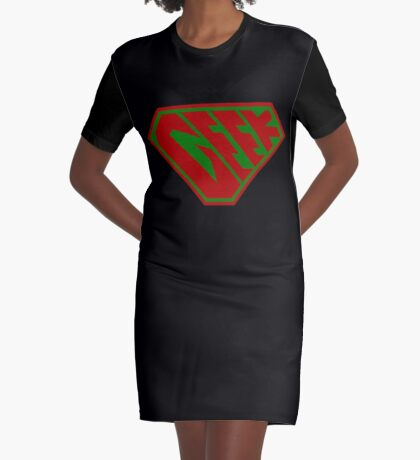 Geek SuperEmpowered (Red and Green) Graphic T-Shirt Dress