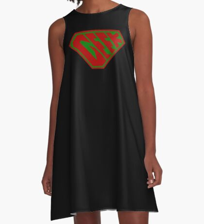 Geek SuperEmpowered (Red and Green) A-Line Dress