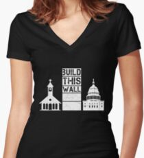 Build This Wall Women's Fitted V-Neck T-Shirt