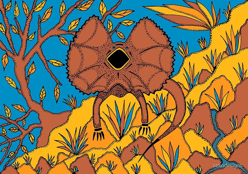 Goolaman - (frilled lizard) irralb season (autumn) by sekodesigns