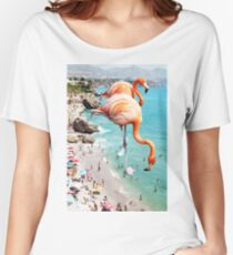 Flamingos on the Beach #redbubble #decor Women's Relaxed Fit T-Shirt