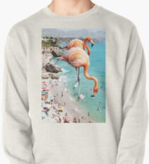 Sudadera sin capucha Flamencos en la playa #redbubble #decor