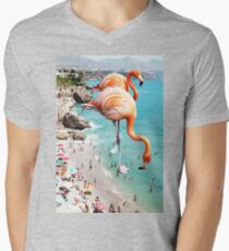 Flamingos on the Beach #redbubble #decor T-Shirt