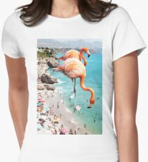 Flamingos on the Beach #redbubble #decor Fitted T-Shirt
