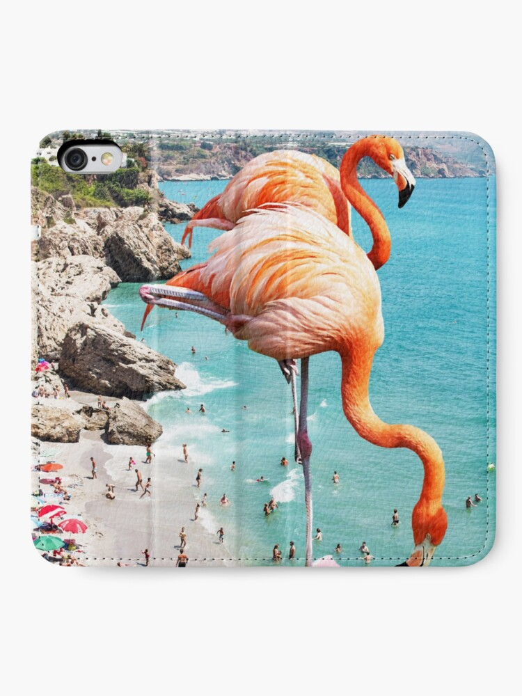 Alternate view of Flamingos on the Beach #redbubble #decor iPhone Wallet