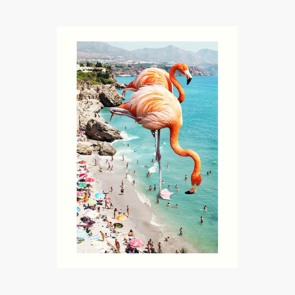 Flamingos on the Beach #redbubble #decor Art Print