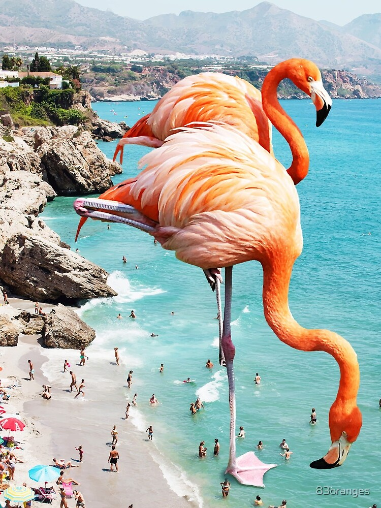 Flamingos on the Beach #redbubble #decor by 83oranges