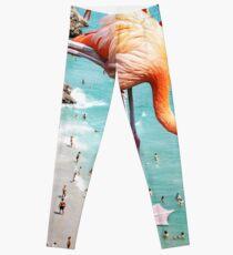 Flamingos on the Beach #redbubble #decor Leggings